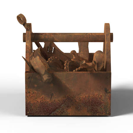 wornout: stained worn-out toolbox with rusty tools, wrench, spanner, hammer, screwdriver. 3d rendering. illustration bad fix, mad-max, fallout, post apocaliptic maintenance, danger unauthorised service