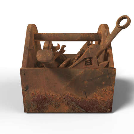 fallout: stained worn-out toolbox with rusty tools, wrench, spanner, hammer, screwdriver. 3d rendering. illustration bad fix, mad-max, fallout, post apocaliptic maintenance, danger unauthorised service