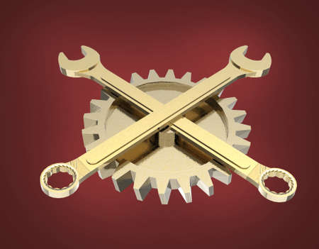 gearwheel: Golden wrenches crossed in front of golden gearwheel isolated on red background bottom view 3D Stock Photo