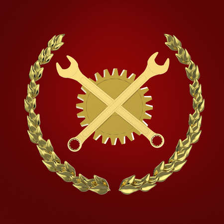 Golden wrenches crossed in front of golden gearwheel isolated on red background bottom view 3D Stock Photo