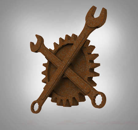 Jolly rodger made of rusty wrenches and gearwheels, fallout post apocalyptic style mechanic emblem 3d render side view