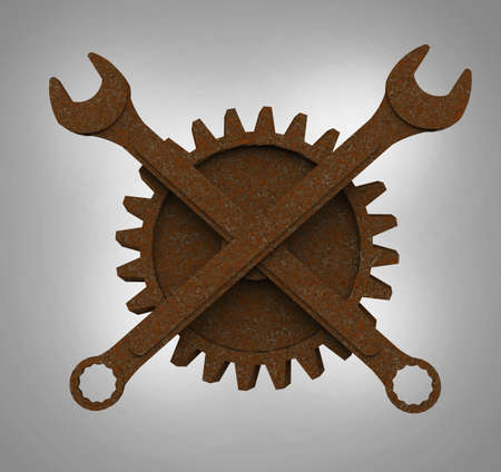 fallout: Jolly rodger made of rusty wrenches and gearwheels, fallout post apocalyptic style mechanic emblem 3d render side view