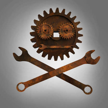 apocalyptic: Jolly rodger made of rusty wrenches and gearwheels, fallout post apocalyptic style mechanic emblem 3d render side view