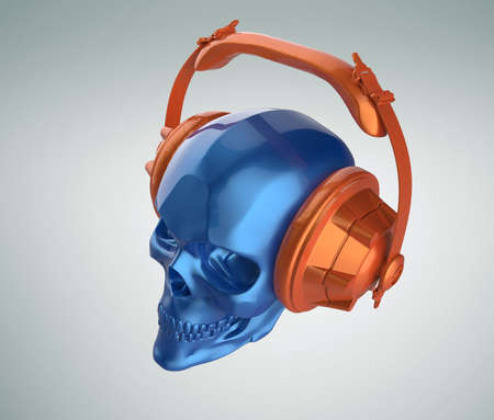 dubstep: shiny blue metallic paint human skull with orange metallic paint studio earphones on, 3d render view. Halloween party poster template. Isolated on light background