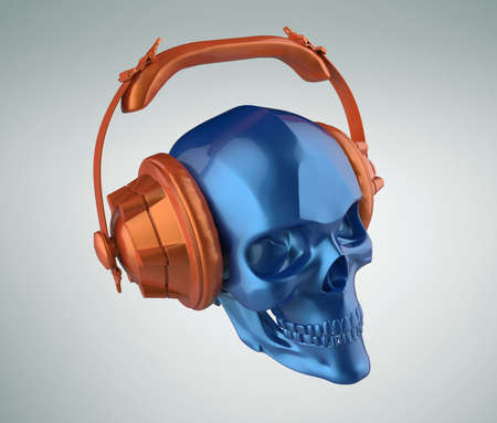 shiny blue metallic paint human skull with orange metallic paint studio earphones on, 3d render view. Halloween party poster template. Isolated on light background