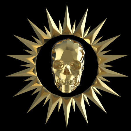 fallout: shiny gold metal skull on matte golden plate with shiny metal spikes around,isolated on black, pirates crest. 3d render