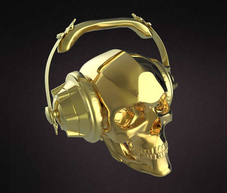 dubstep: shiny golden human skull with golden studio earphones on, 3d render side view. Halloween party poster template. Isolated on dark background