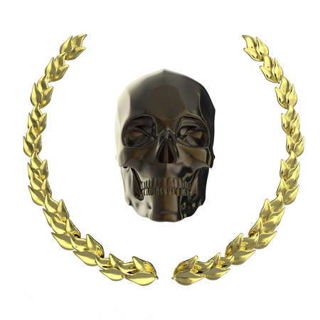 fallout: golden skull surrounded with goldel laurel leaves isolated on black background 3d rendering