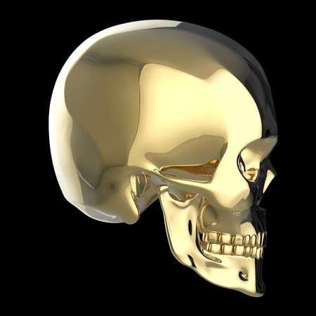 dubstep: golden shiny polished metal skull 3d render isolated on black background