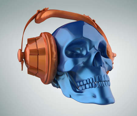 shiny blue metallic paint human skull with orange metallic paint studio earphones on, 3d render view. Halloween party poster template. Isolated on light background