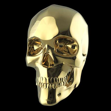 hardcore: golden shiny polished metal skull 3d render isolated on black background