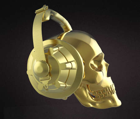 shiny golden human skull with golden studio earphones on, 3d render side view. Halloween party poster template. Isolated on dark background