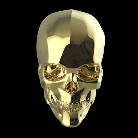 golden shiny polished metal skull 3d render isolated on black background
