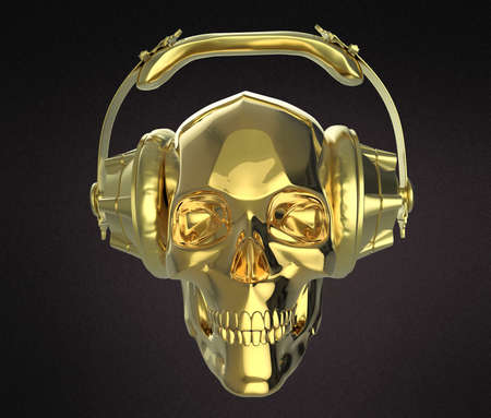 earphone: shiny golden human skull with golden studio earphones on, 3d render side view. Halloween party poster template. Isolated on dark background