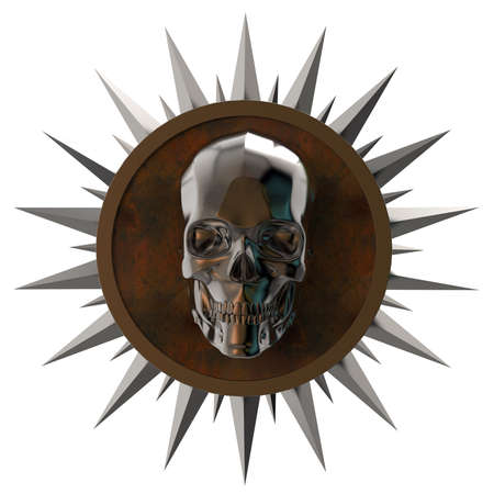 shiny dark metal skull on rusty metal plate with shiny metal spikes around,isolated on white, post-apocalyptic raiders crest. 3d render Stock Photo