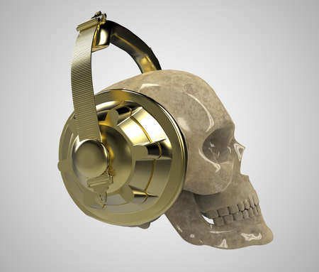 shiny stone human skull with golden studio earphones on, 3d render front view. Halloween party poster template. Isolated on light background