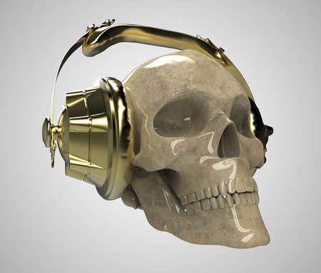 dubstep: shiny stone human skull with golden studio earphones on, 3d render front view. Halloween party poster template. Isolated on light background