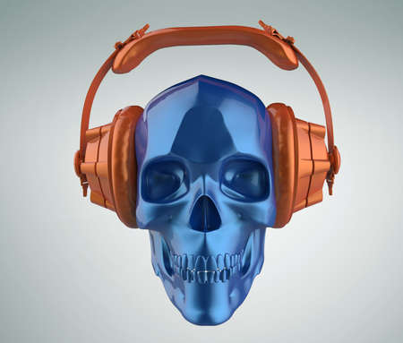 hardcore: shiny blue metallic paint human skull with orange metallic paint studio earphones on, 3d render view. Halloween party poster template. Isolated on light background