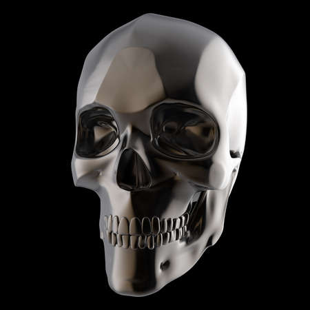 fallout: dark shiny polished metal skull 3d render isolated on black background