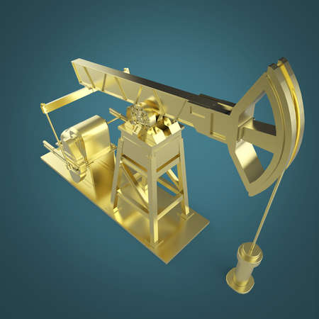 obsolescence: High detailed golden oil pump-jack, oil rig. isolated 3d rendering. oil, fuel industry, economy crisis illustration.