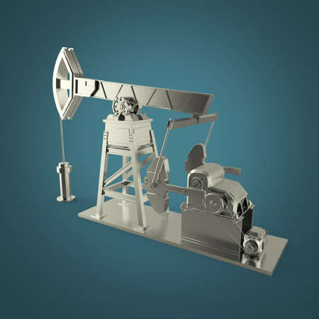 economy crisis: High detailed silver oil pump-jack, oil rig. isolated 3d rendering. oil, fuel industry, economy crisis illustration.