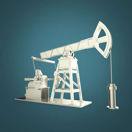 oilwell: High detailed silver oil pump-jack, oil rig. isolated 3d rendering. oil, fuel industry, economy crisis illustration.