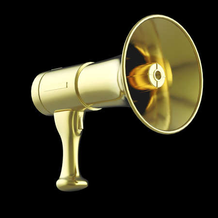 shiny black: shiny golden megaphone isolated on black background 3D rendering. Stock Photo