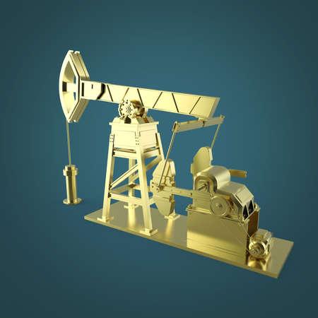 High detailed golden oil pump-jack, oil rig. isolated 3d rendering. oil, fuel industry, economy crisis illustration. Stock fotó