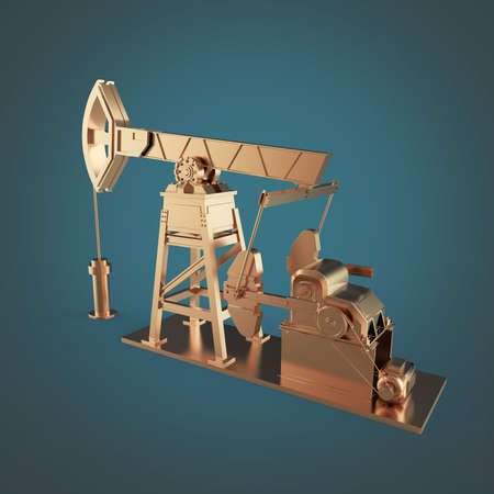 oilwell: High detailed bronze oil pump-jack, oil rig. isolated 3d rendering. oil, fuel industry, economy crisis illustration.