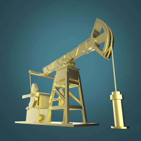 oilwell: High detailed golden oil pump-jack, oil rig. isolated 3d rendering. oil, fuel industry, economy crisis illustration.