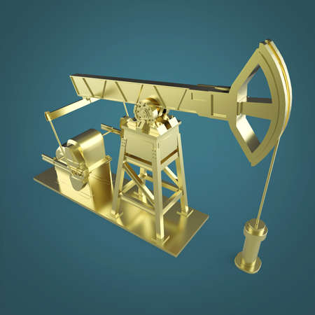 High detailed golden oil pump-jack, oil rig. isolated 3d rendering. oil, fuel industry, economy crisis illustration.