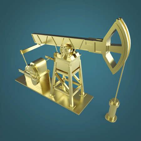 insider: High detailed golden oil pump-jack, oil rig. isolated 3d rendering. oil, fuel industry, economy crisis illustration.