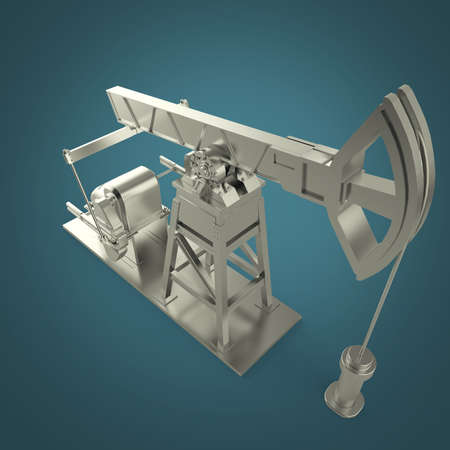 insider: High detailed silver oil pump-jack, oil rig. isolated 3d rendering. oil, fuel industry, economy crisis illustration.