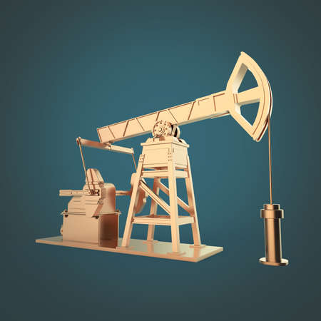 economy crisis: High detailed bronze oil pump-jack, oil rig. isolated 3d rendering. oil, fuel industry, economy crisis illustration.