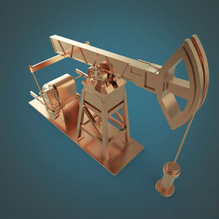 obsolescence: High detailed bronze oil pump-jack, oil rig. isolated 3d rendering. oil, fuel industry, economy crisis illustration.