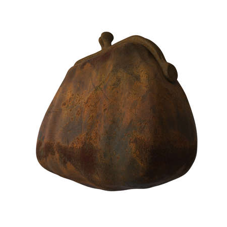 3 4: worn out rusty iron cast purse isolated on white background 3 4 side view, metaphor of economical crisis 3d render