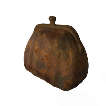 worn out: worn out rusty iron cast purse isolated on white background 3 4 side view, metaphor of economical crisis 3d render