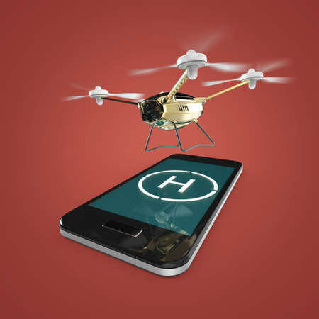 helipad: small camera drone hovering above the touchscreen of mobile smartphone with helipad sign on screen. Concept for mobile remote copter control 3d render isolated