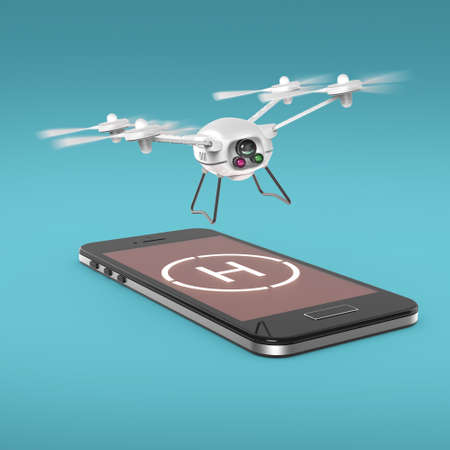 hovering: small camera drone hovering above the touchscreen of mobile smartphone with helipad sign on screen. Concept for mobile remote copter control 3d render isolated