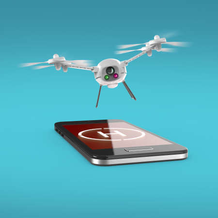 drones: small camera drone hovering above the touchscreen of mobile smartphone with helipad sign on screen. Concept for mobile remote copter control 3d render isolated