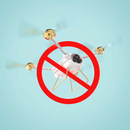 hovering: No drones sign. restricted fly zone, realistic 3d camera Drone hovering with red prohibited restriction sign 3d render isolated