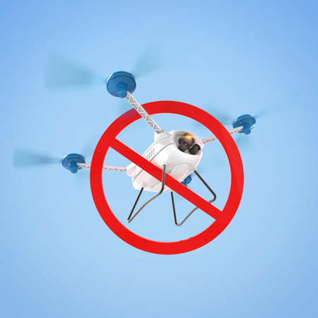 No drones sign. restricted fly zone, realistic 3d camera Drone hovering with red prohibited restriction sign 3d render isolated