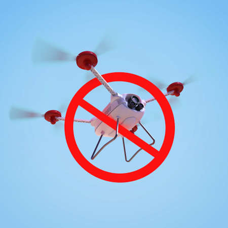 drones: No drones sign. restricted fly zone, realistic 3d camera Drone hovering with red prohibited restriction sign 3d render isolated