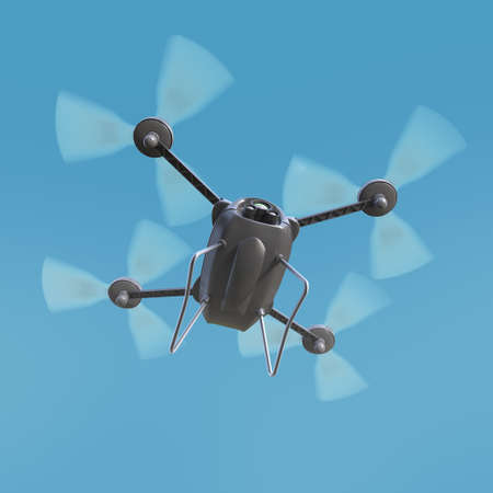 hovering: aerial robot drone, quadrocopter, with camera flying in the blue sky. Concept hovering multycopter 3d render
