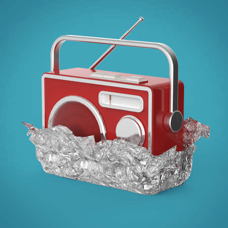 tuner: Vintage colorful radio tuner receiver 3d render isolated