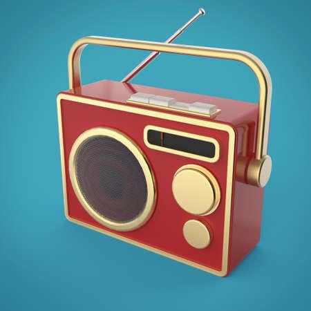 volume knob: Vintage colorful radio tuner receiver 3d render isolated