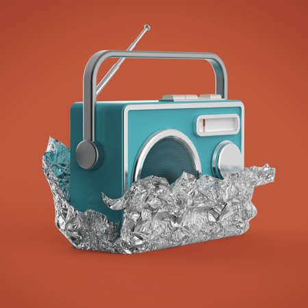 reciever: Vintage colorful radio tuner receiver 3d render isolated