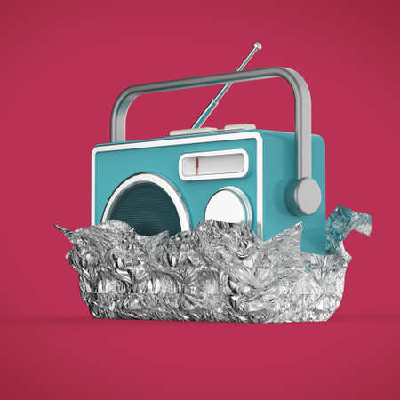 receiver: Vintage colorful radio tuner receiver 3d render isolated