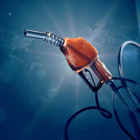 benzine: fuel gas filling nozzle 3d digital global high quality futuristic background. Gas, benzine, car transportation future concept.