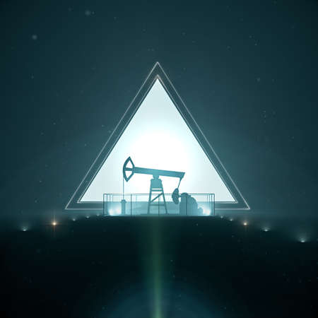 brent crude: oil pump jack silhouette on trangle light background in night 3d render design concept Stock Photo